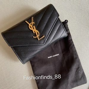 Auth Saint Laurent Small Grain De Poudre Wallet